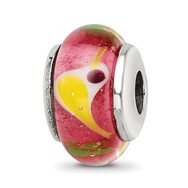 Reflection Beads Sterling Silver Kids Red Bird Murano Glass Bead