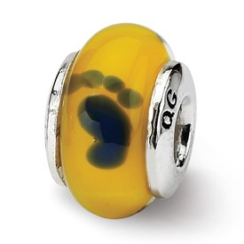 Reflection Beads Sterling Silver Kids Yellow Foot Murano Glass Bead