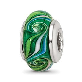 Reflection Beads Sterling Silver Kids Green Hand-blown Glass Bead