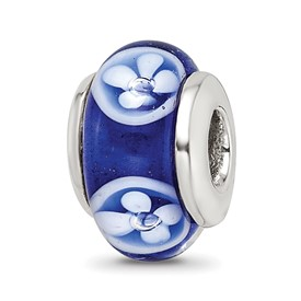 Reflection Beads Sterling Silver Kids Blue Hand-blown Glass Bead