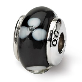 Reflection Beads Sterling Silver Kids Black Hand-blown Glass Bead