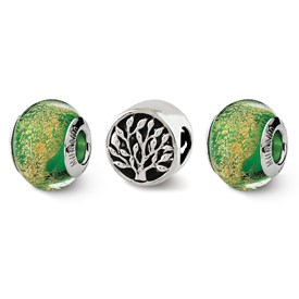 Reflection Beads Sterling Silver Trees of Green Boxed Bead Set