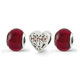Reflection Beads Sterling Silver Red Hot Mom Boxed Bead Set