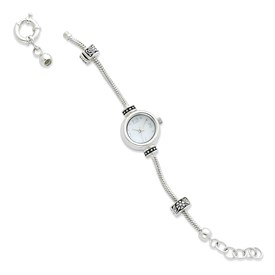 Reflection Beads Sterling Silver Round Face Watch Starter Bracelet
