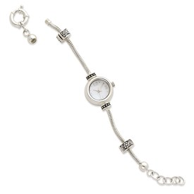 Reflection Beads Sterling Silver Round Face Watch Starter Long Bracelet