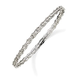 Stackable Expressions Sterling Silver Carved Slip-on Bangle Bracelet