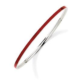 Stackable Expressions Sterling Silver Red Enameled Slip-On Bangle Bracelet