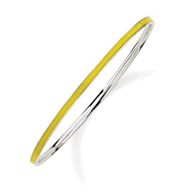 Stackable Expressions Sterling Silver Yellow Enameled Slip-On Bangle Bracelet