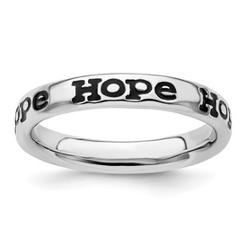 Stackable Expressions Sterling Silver Polished Enameled Hope Ring