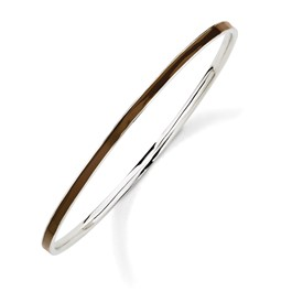 Stackable Expressions Sterling Silver Brown Slip-On Enameled Bangle Bracelet