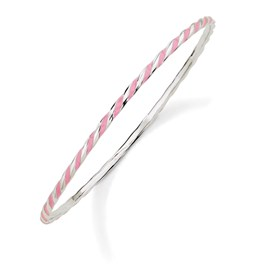 Stackable Expressions Sterling Silver Twisted Pink Enameled Slip-On Bangle Bracelet