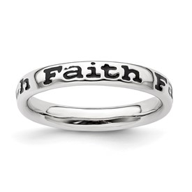 Stackable Expressions Sterling Silver Polished Enameled Faith Ring