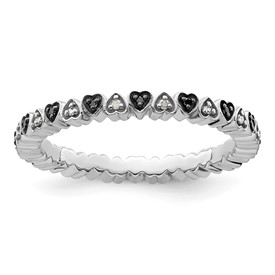 Stackable Expressions Sterling Silver Hearts Black and White Diamond Ring