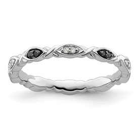 Stackable Expressions Sterling Silver Black and White Diamond Ring