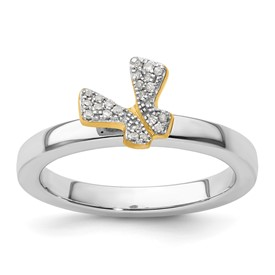 Stackable Expressions Sterling Silver Gold-plated Butterfly Diamond Ring