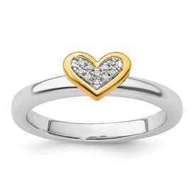 Stackable Expressions Sterling Silver Heart Diamond and Vermeil Ring