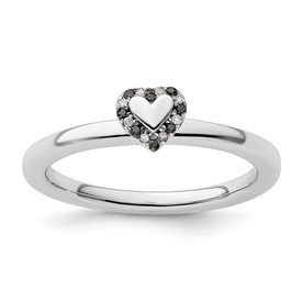 Stackable Expressions Sterling Silver Heart Black and White Diamond Ring