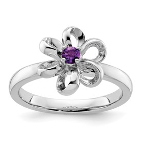 Stackable Expressions Sterling Silver Polished Amethyst Flower Ring