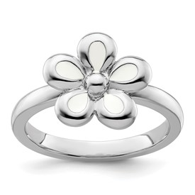 Stackable Expressions Sterling Silver Polished White Enameled Flower Ring