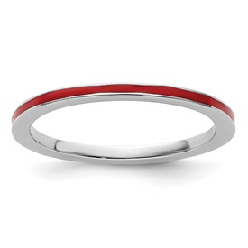Stackable Expressions Sterling Silver Red Enameled 1.5mm Ring