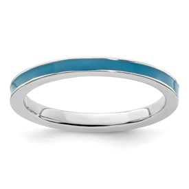 Stackable Expressions Sterling Silver Blue Enameled 2.25mm Ring
