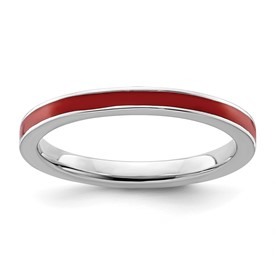 Stackable Expressions Sterling Silver Red Enameled 2.25mm Ring