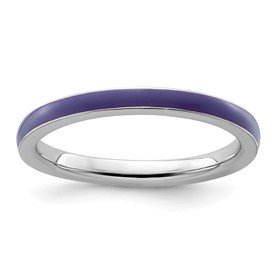 Stackable Expressions Sterling Silver Purple Enameled 2.25mm Ring