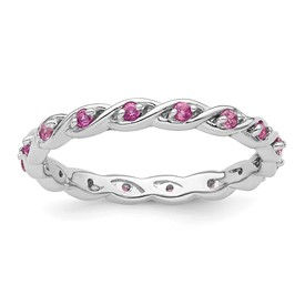 Stackable Expressions Sterling Silver Created Pink Sapphire Ring