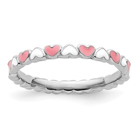 Stackable Expressions Sterling Silver Pink and White Enamel Ring