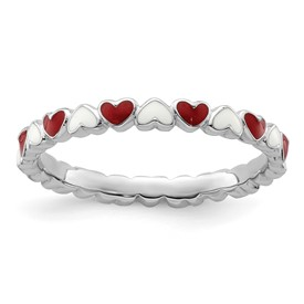Stackable Expressions Sterling Silver Red and White Enamel Ring