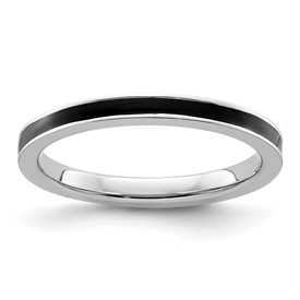 Stackable Expressions Sterling Silver Black Enameled 2.25mm Ring
