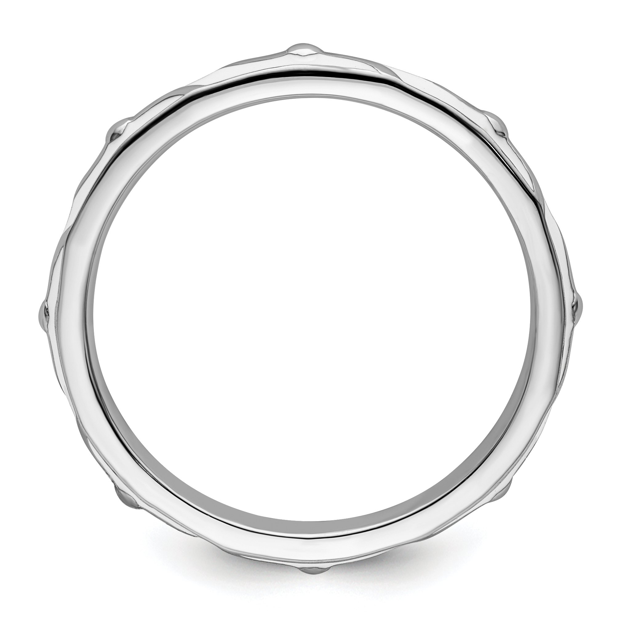 sterling silver w rhodium plated stackable white enamel