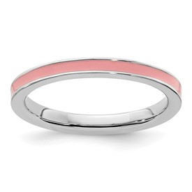 Stackable Expressions Sterling Silver Pink Enameled 2.25mm Ring