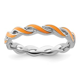 Stackable Expressions Sterling Silver Orange Enamel Ring