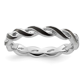 Stackable Expressions Sterling Silver Black Enamel Ring