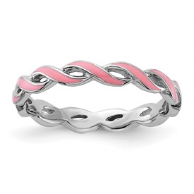 Stackable Expressions Sterling Silver Pink Enamel Ring