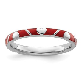 Stackable Expressions Sterling Silver Red Enamel Ring