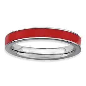 Stackable Expressions Sterling Silver Red Enameled 3.25mm Ring
