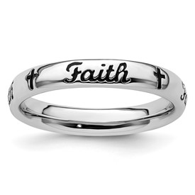 Stackable Expressions Sterling Silver Black Enamel Faith Ring