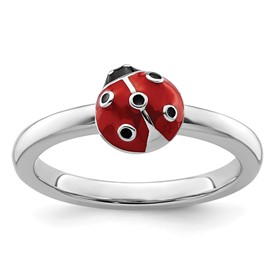 Stackable Expressions Sterling Silver Red and Black Enamel Ring