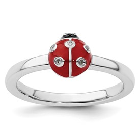 Stackable Expressions Sterling Silver Ladybug in Red and Black Enamel with Diamond Ring