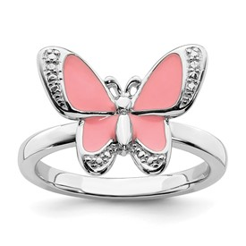 Stackable Expressions Sterling Silver Pink Enamel Butterfly Ring