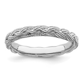 Stackable Expressions Sterling Silver Rhodium-plated Twist Ring