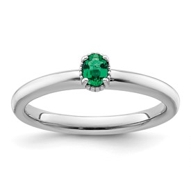 Stackable Expressions Sterling Silver Created Emerald Single Stone Ring