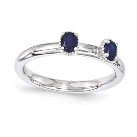 Stackable Expressions Sterling Silver Created Sapphire Two Stone Ring