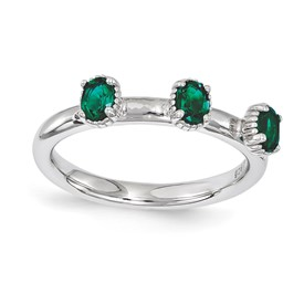 Stackable Expressions Sterling Silver Created Emerald Three Stone Ring