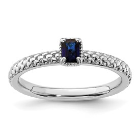 Stackable Expressions Sterling Silver Created Sapphire Single Stone Ring
