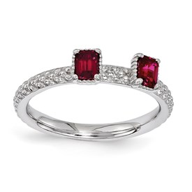 Stackable Expressions Sterling Silver Created Ruby Two Stone Ring