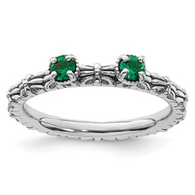 Stackable Expressions Sterling Silver Created Emerald Two Stone Ring