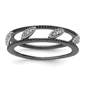 Stackable Expressions Sterling Silver Rhodium-plated Diamond Jacket Ring